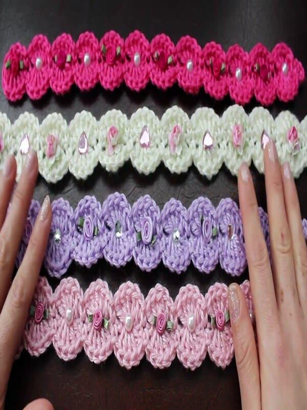 vinchas a crochet para niñas paso a paso