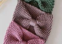 Vinchas tejidas con dos agujas en 3 pasos