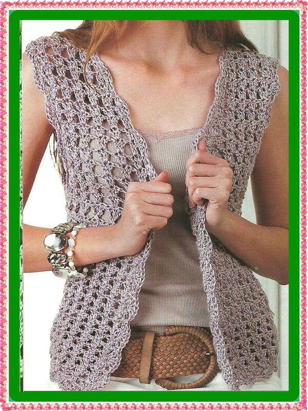 chaleco de estambre para dama crochet