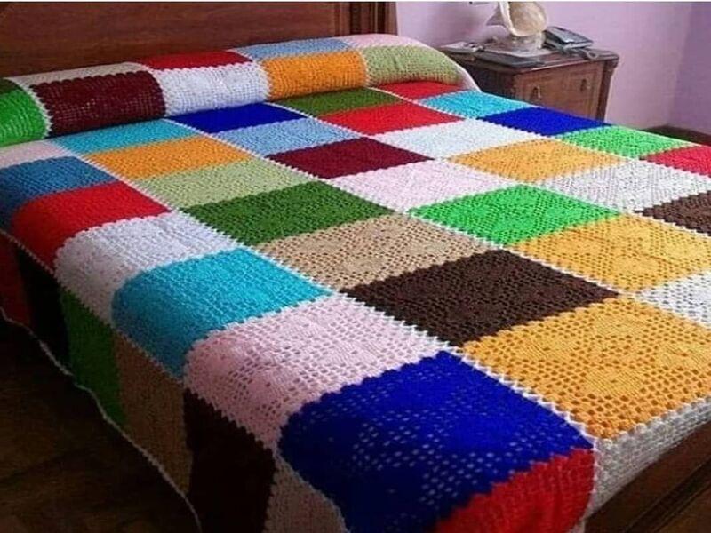 colchas para cama a crochet