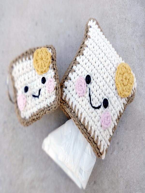 Monederos a crochet cuadrados