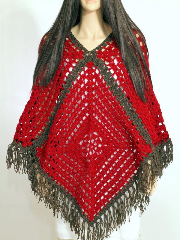 ponchos a crochet para damas