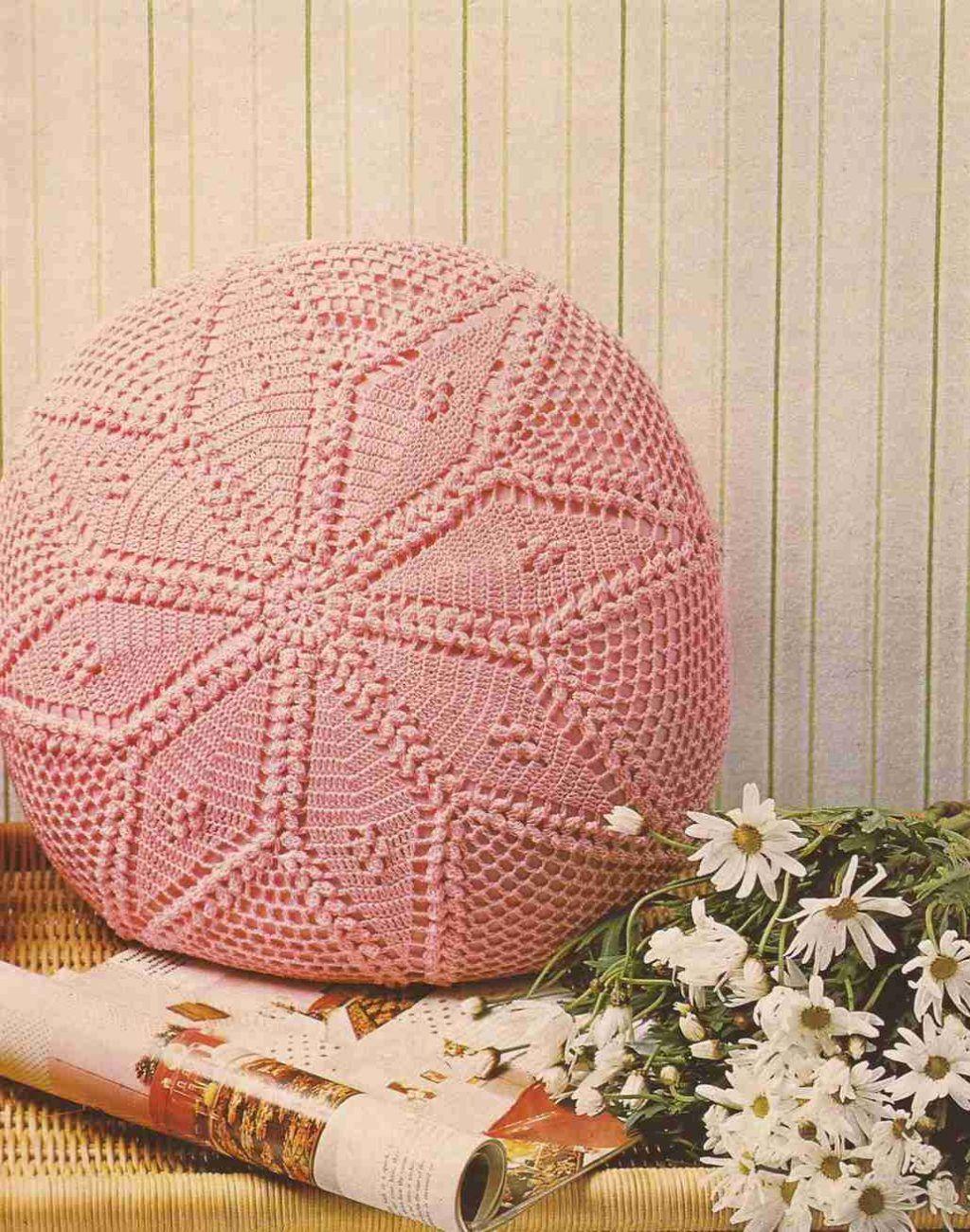 almohadones a crochet redondos