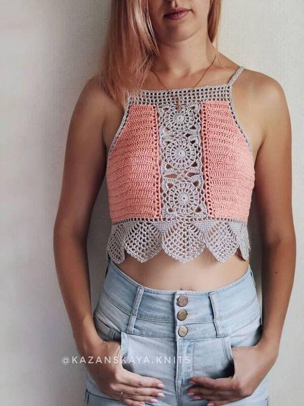 crop tejido a crochet