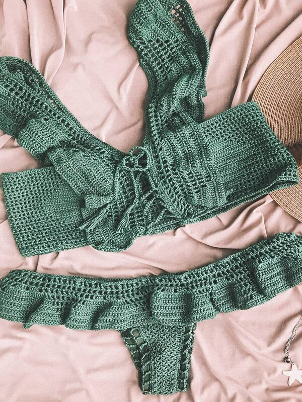 trajes de baño a crochet en dos piezas