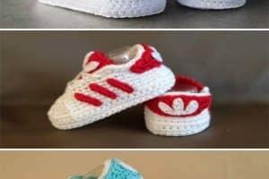 Zapatos de bebe en crochet para 3 a 6 meses