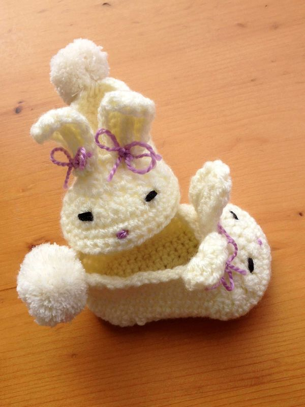 zapatos en crochet para bebe conejo