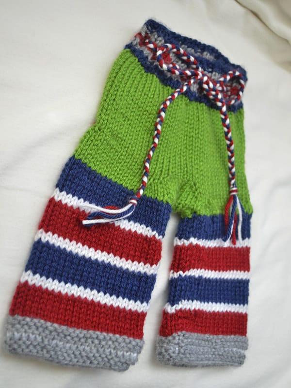 pantalones tejidos para bebe
