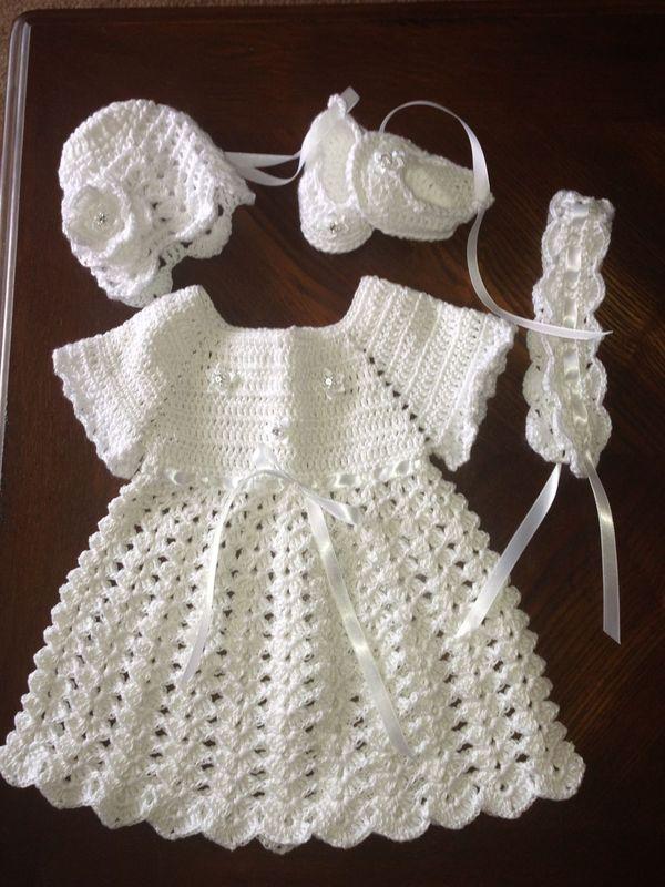 Vestidos de bautizo a crochet fácil