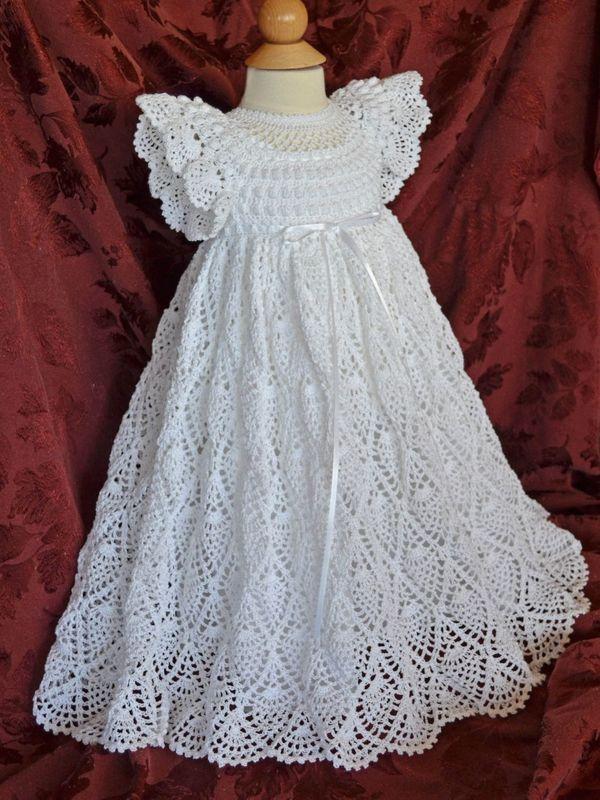 vestido de bautizo a crochet