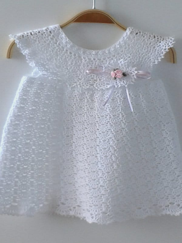 vestido a crochet para bautizo