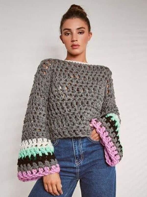 Blusas de verano a crochet con mangas largas