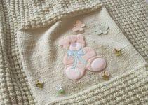 Colchas tejidas a palitos para bebes de 70 x 80 cm