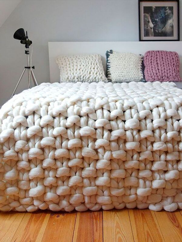 mantas tejidas de lana punto arroz