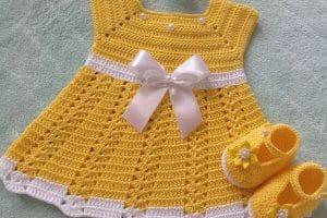 Vestidos para bebe de crochet talla 1 año