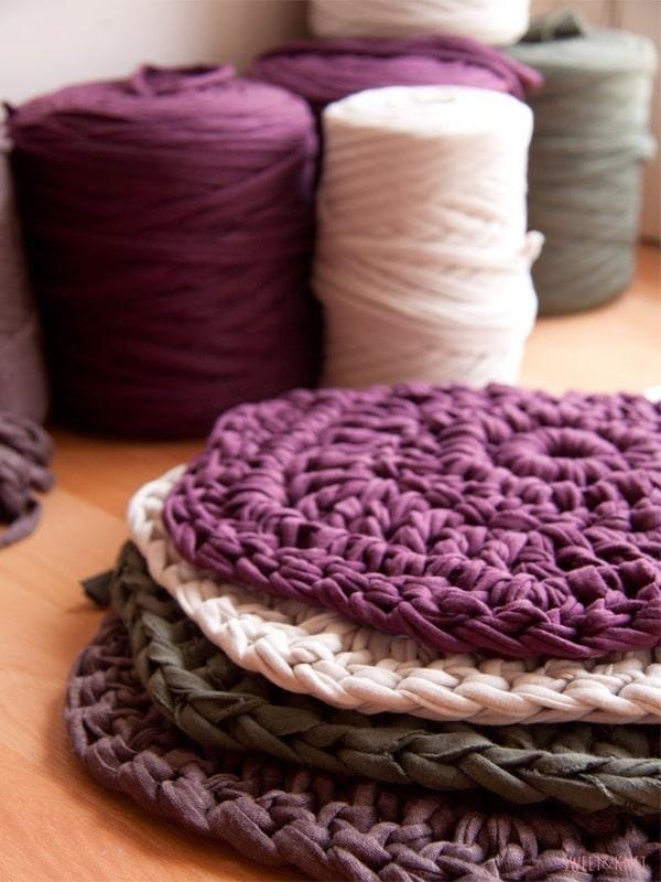 Alfombras de lana hechas a mano con crochet