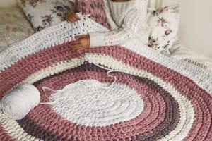 2 alfombras de ganchillo de lana