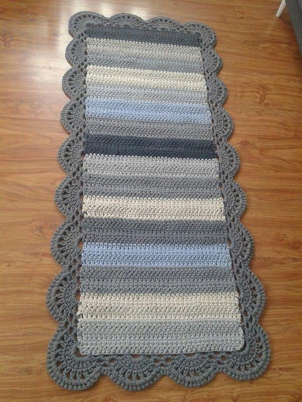 Alfombras de ganchillo de lana rectangulares