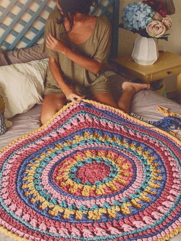 alfombras tejidas a mano con trenzas