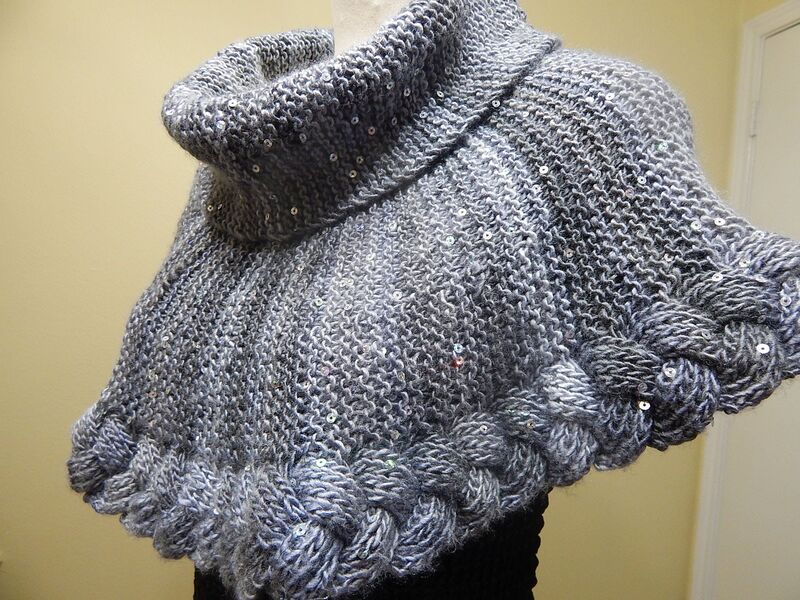 chalina tejida para mujer a dos agujas