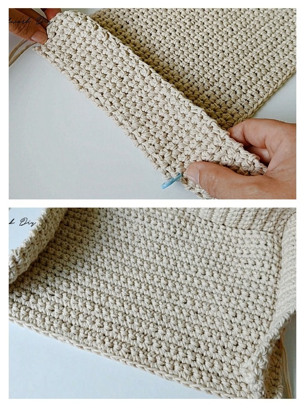 canasta cuadrada tejida a crochet