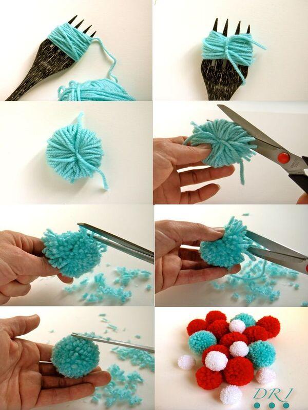 DIY pompones de estambre
