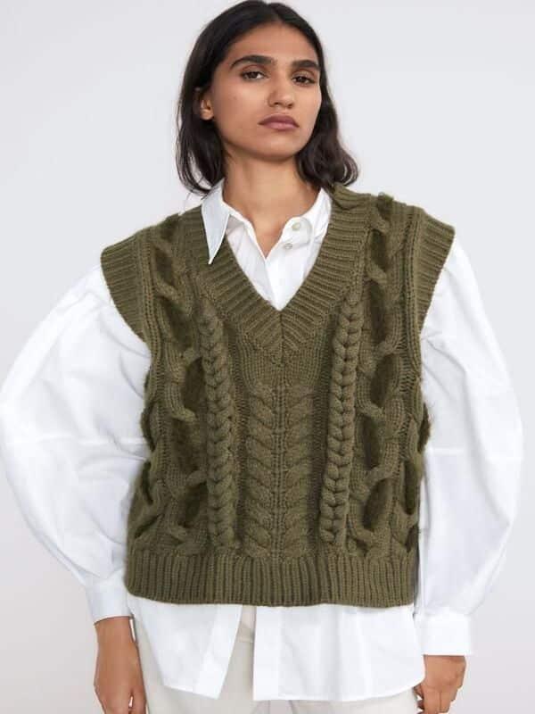 chalecos tejidos de lana para muejr
