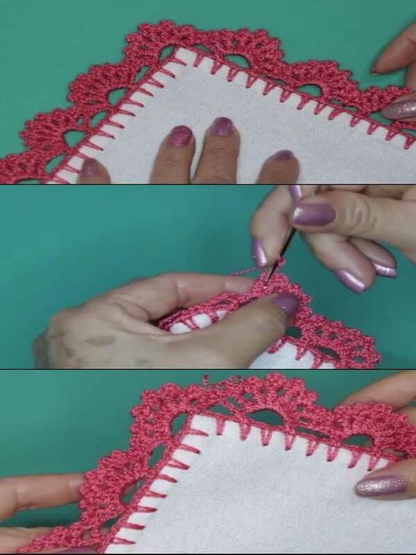 orillas a crochet de 2 vueltas