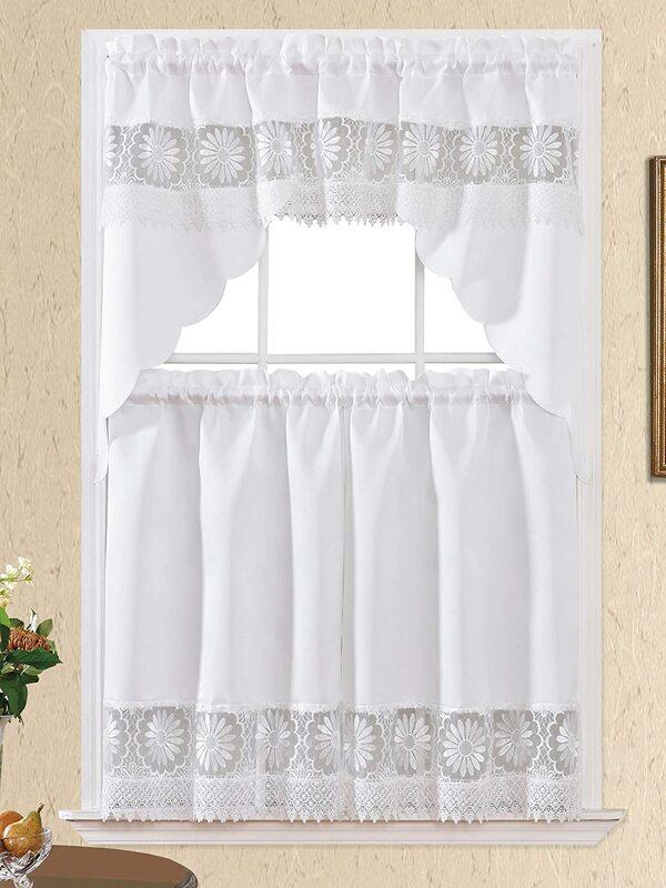 cortinas de lienzo y crochet