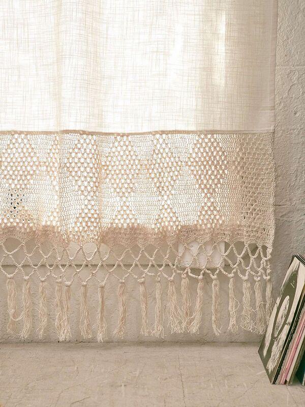 cortinas de lienzo y crochet paso a paso