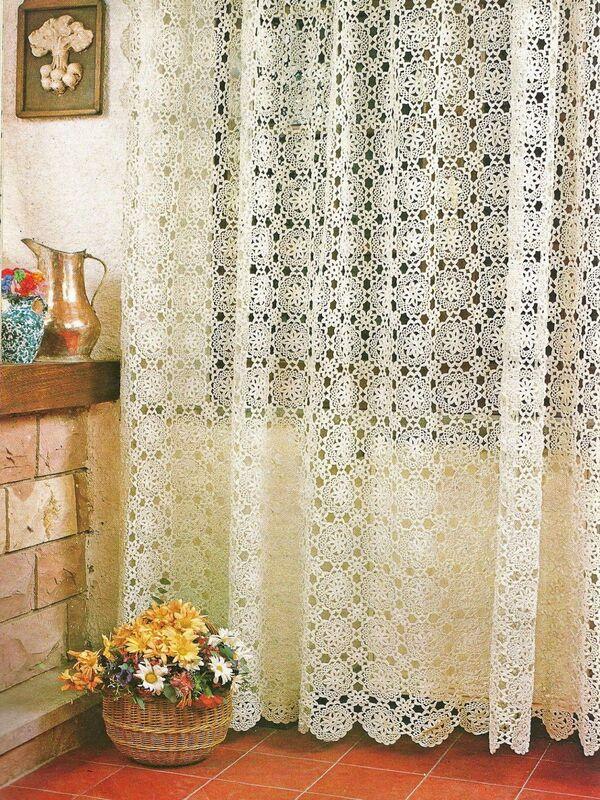 cortinas tejidas a crochet con flores