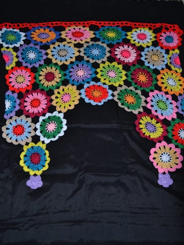 cortinas de  flores  a crochet