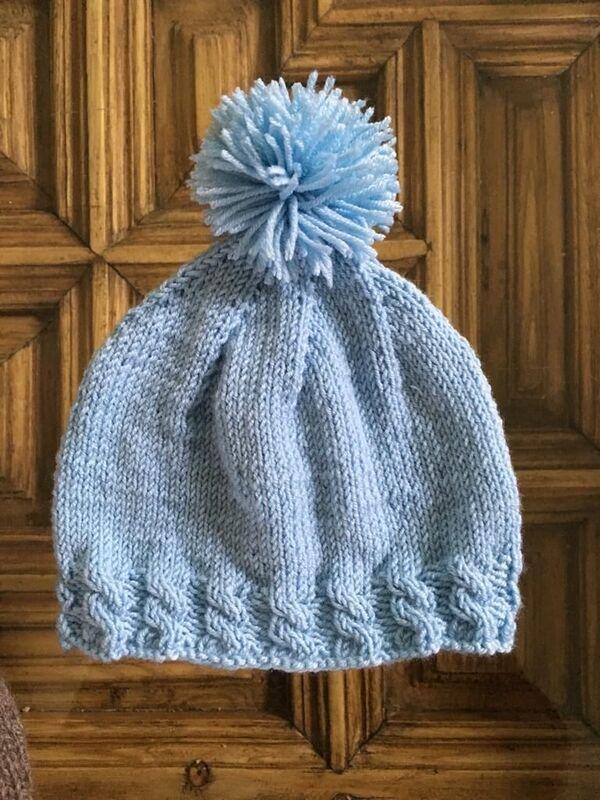 gorro de lana sencillo a dos agujas