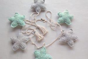 Estrellas navideñas a crochet de 5 puntas